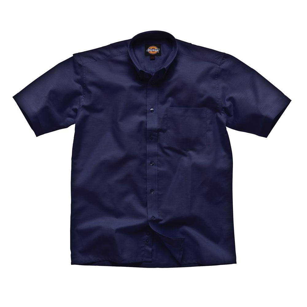 Dickies Mens Workwear Oxford Weave Short Sleeved Shirt Navy Blue