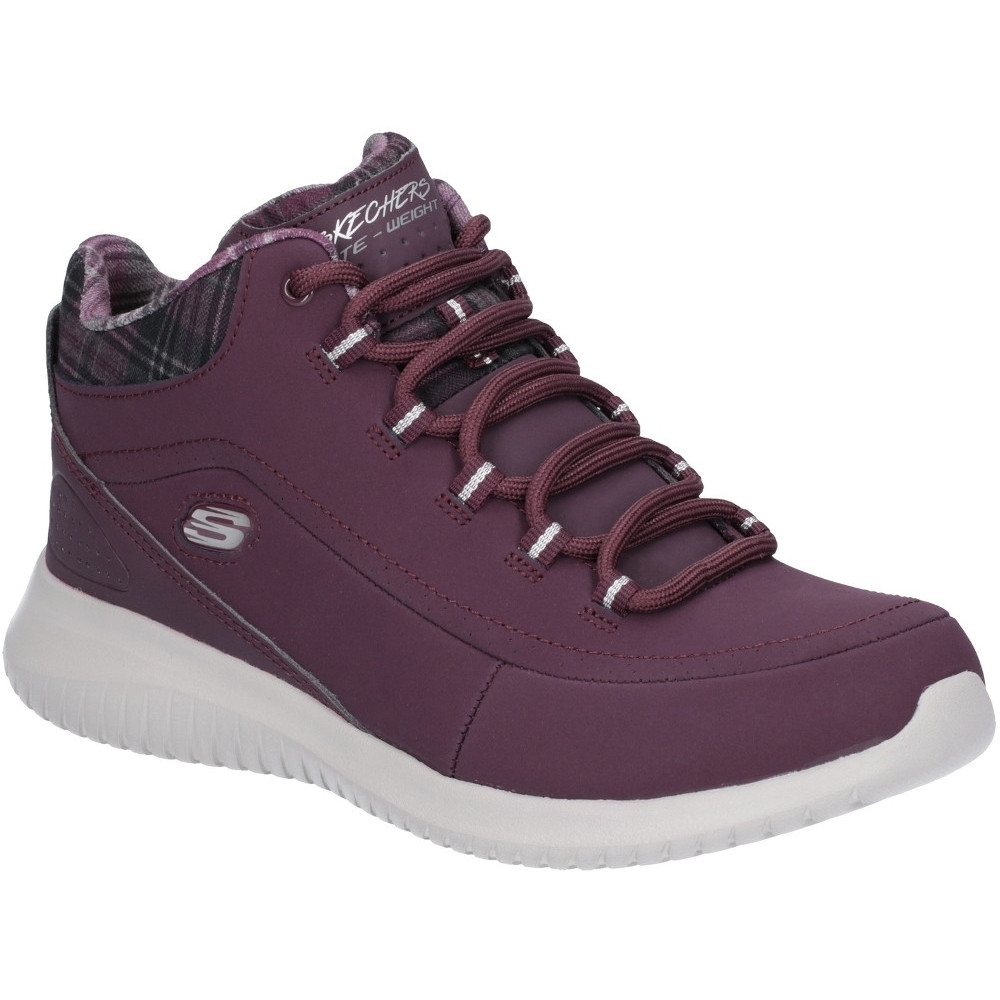 Image of Skechers Womens Ultra Flex Mid Top Leather Sports Trainers UK Size 3 (EU 36)
