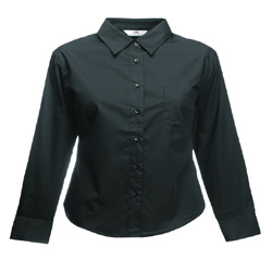 Image of Fruit Of The Loom Lady-Fit Long Sleeve Poplin Shirt