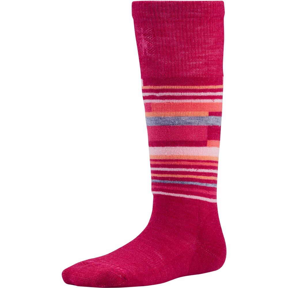 Product image of Smartwool Girls Wintersport Stripe Tall Snow Sport Ski Socks Red