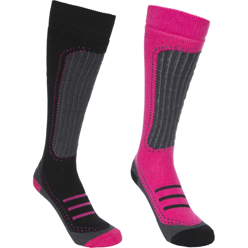 Trespass Womens/ladies Janus Ii Acrylic Two Pair Technical Ski Socks Size 3-6