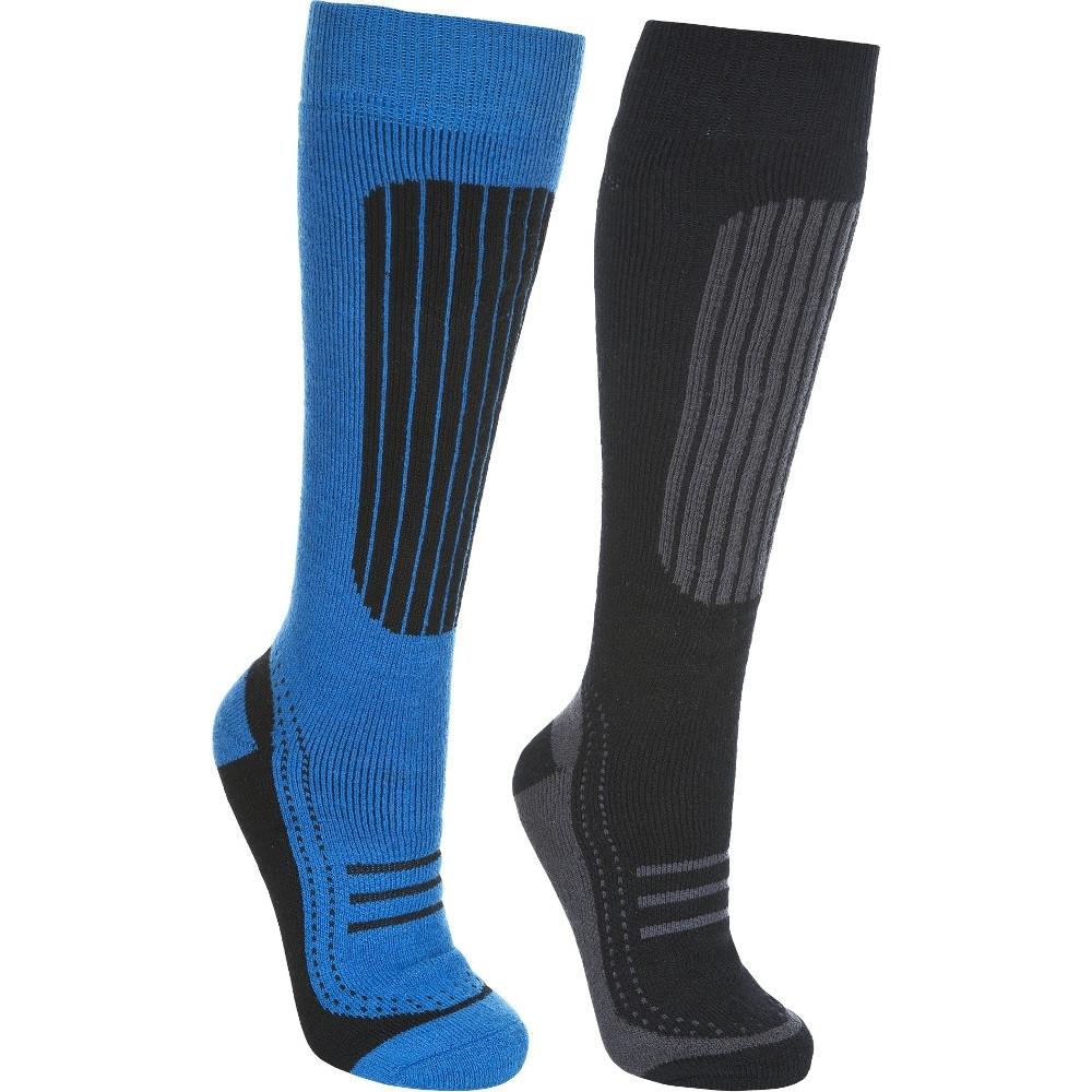 Trespass Mens Langdon Ii Acrylic Two Pair Pack Technical Ski Socks Size 4-7