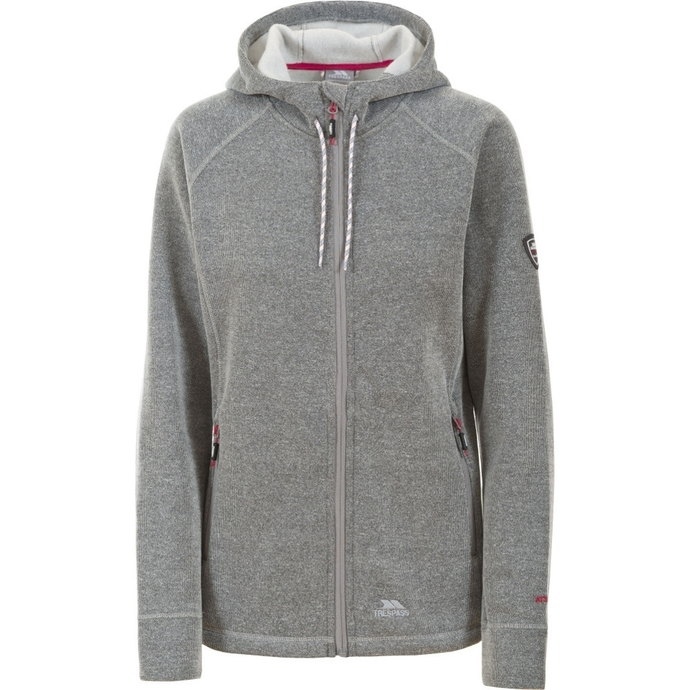 Trespass Womens/ladies Whirlwind Hooded Knitted Marl Fleece Jacket Xs - Bust 32 (81cm)