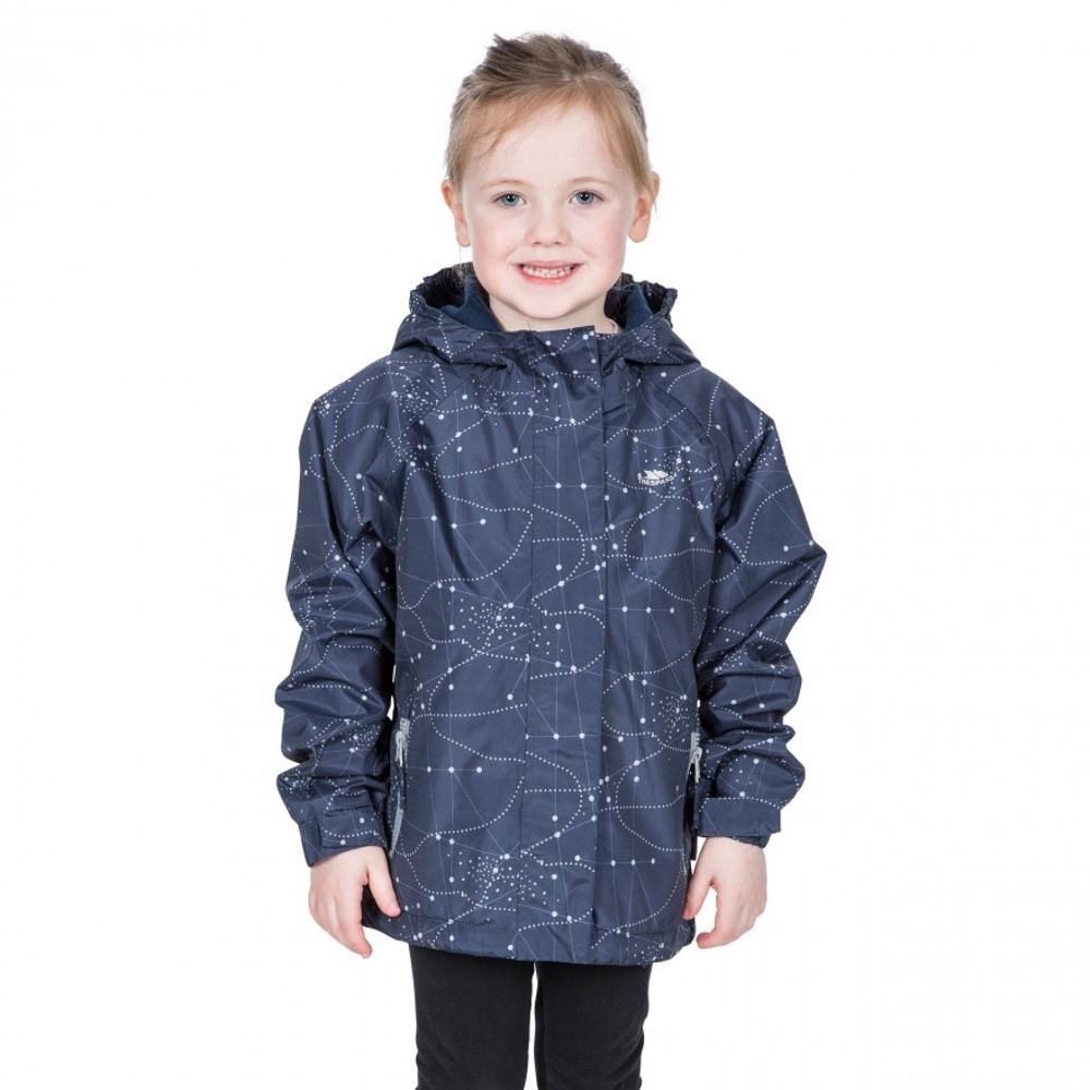 Trespass Girls Vilma Tp50 Waterproof Polyester Zip Up Jacket 3-4 - Chest 22 (chest 56cm)