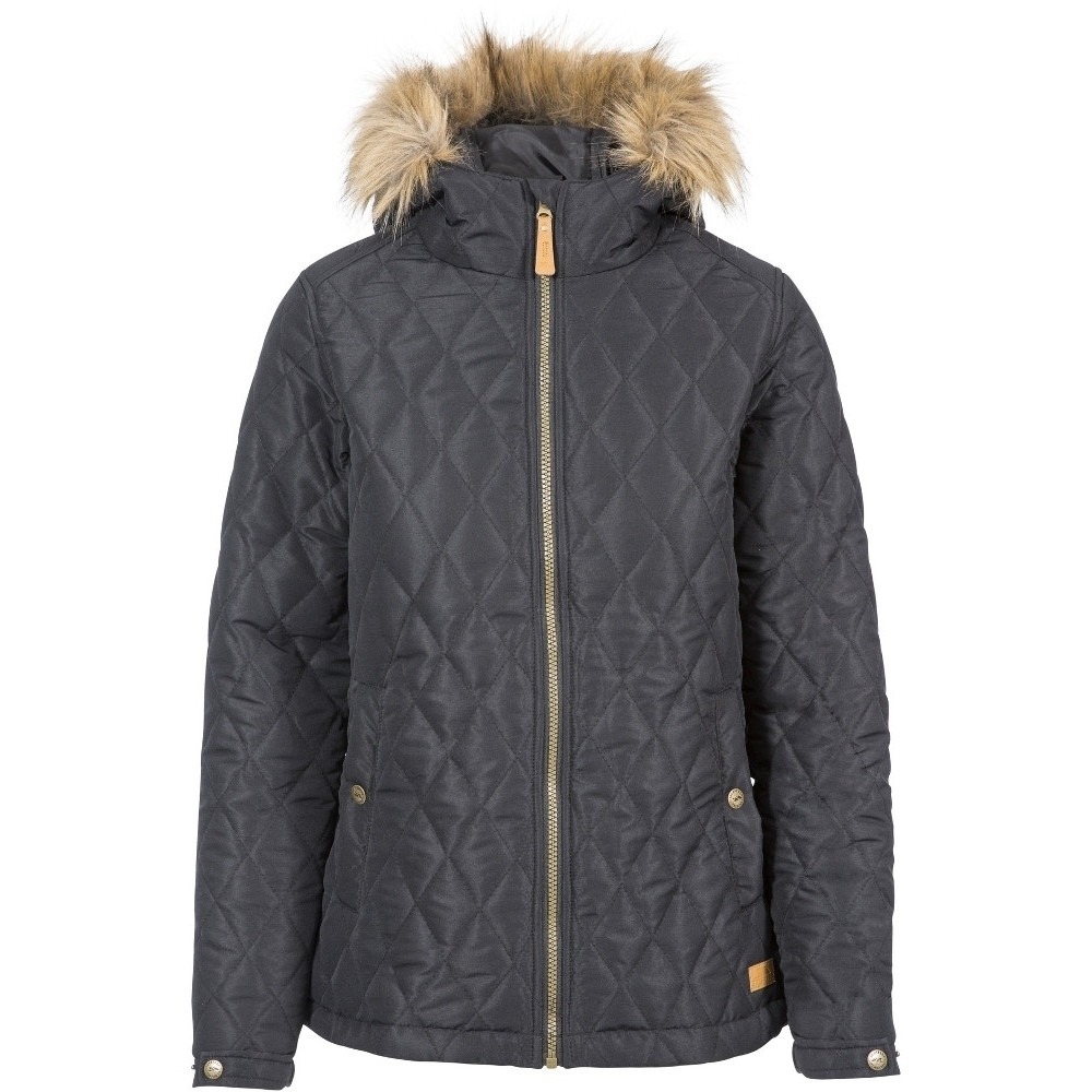 Trespass Womens Genevieve Diamond Quilted Hooded Padded Coat S-uk 10  Bust 34 (86cm)
