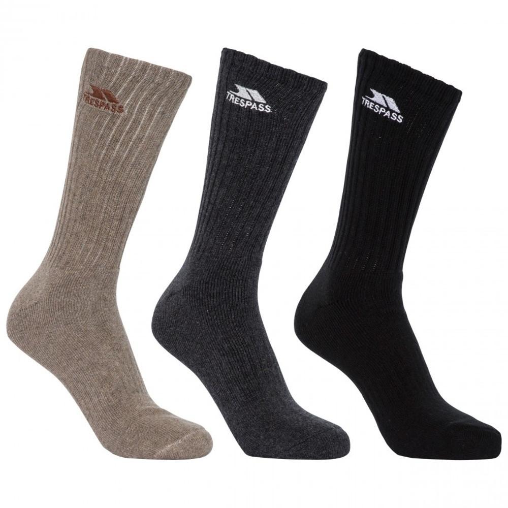 Trespass Mens Torren Mid Length 3 Pack Cushioned Socks Uk Size 4-7 (eur 37-41)
