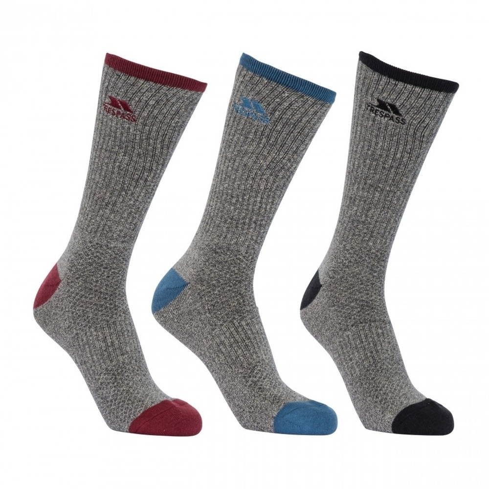 Trespass Mens Radulf Mid Length 3 Pack Technical Port Socks Uk Size 4-7 (eur 37-41)