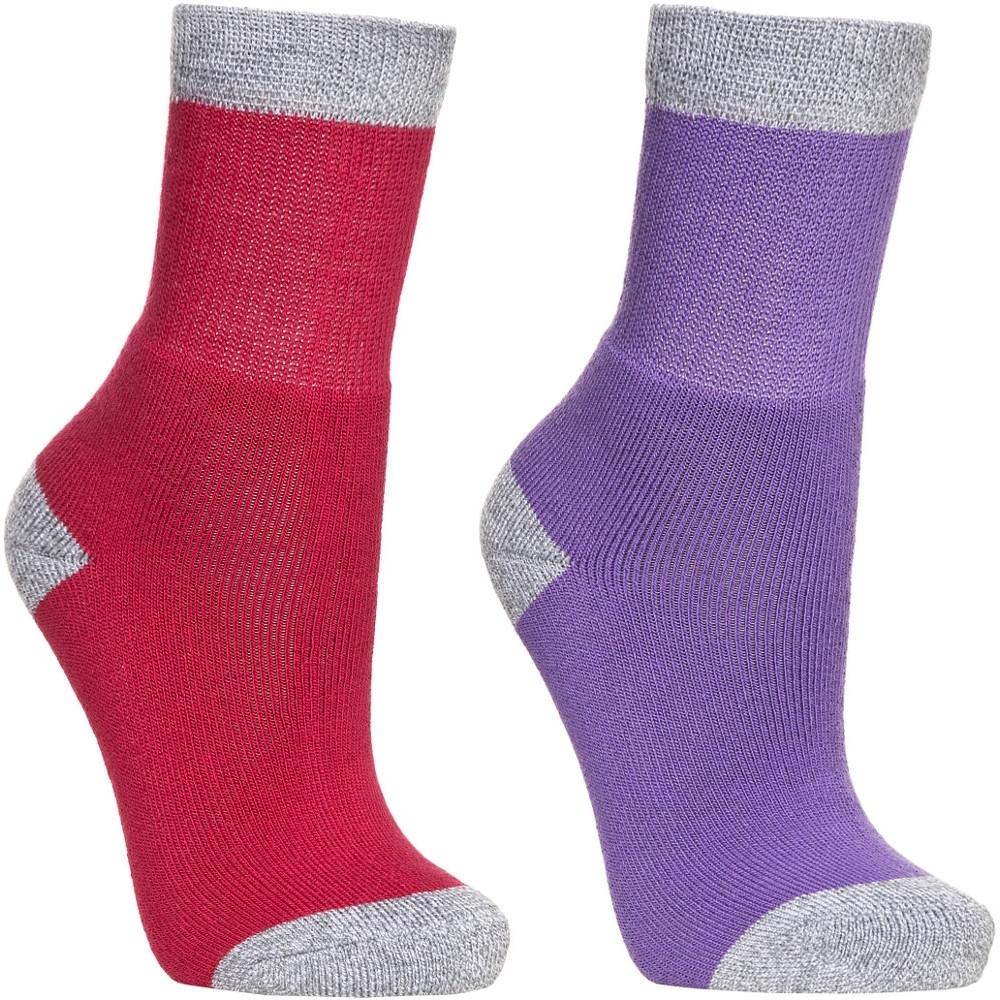 Trespass Girls Confess Two Pack Marl Walking Socks Uk Size 9-12 (eu 27-31)