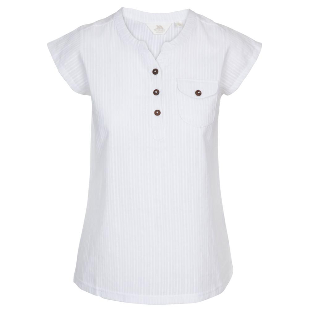 Trespass Womens Tricia Collarless Short Sleeve Shirt 6/xxs - Bust 30 (76cm)