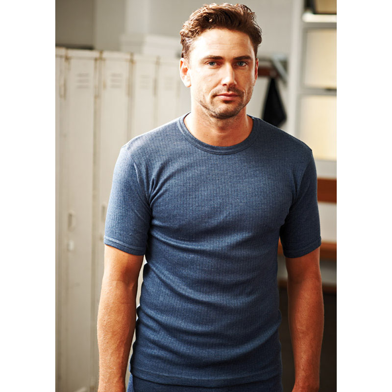 Product image of Regatta Mens Short Sleeved Thermal Baselayer Vest T Shirt Denim Blue